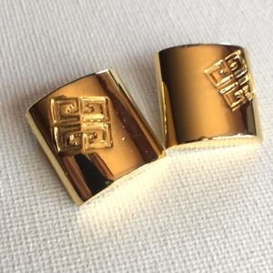 Vintage Givenchy logo branded gold earrings